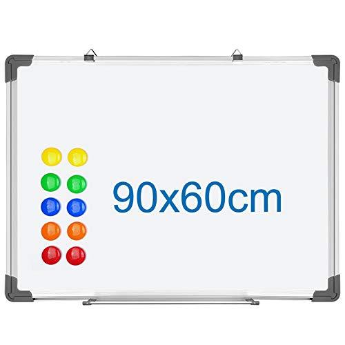 S SIENOC Whiteboard Magnetwand mit Alurahmen Magnetisch Whiteboard und Magnettafel Weiß lackiert mehrere Größen wählbar (1 Stück 90 * 60cm)