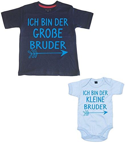 Arrow Set 'Ich Bin Der Große Bruder 3-4 Years Navy T-Shirt Und Ich Bin Der Kleine Bruder 3-6 Months Sky Blue Bodysuit' with Sapphire Print