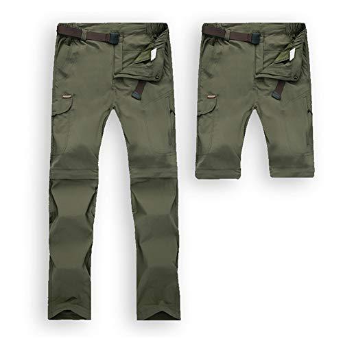 JIANYE Pantalon Trekking Hombre Mujer Zip Off Extraíble Pantalon Senderismo Secado Rápido Pantalones Montaña con Cinturón Ejército Verde L
