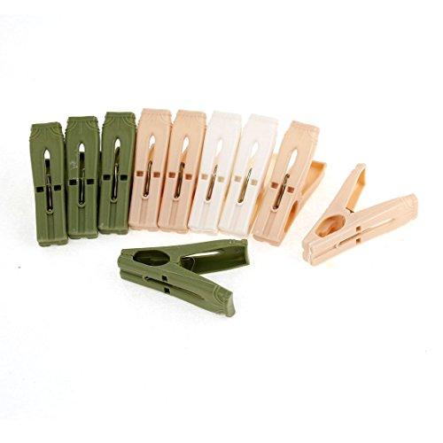 Kunststoff-Wäscheklammern Clips 10 Stück Elfenbein Armee-Grün Aprikose