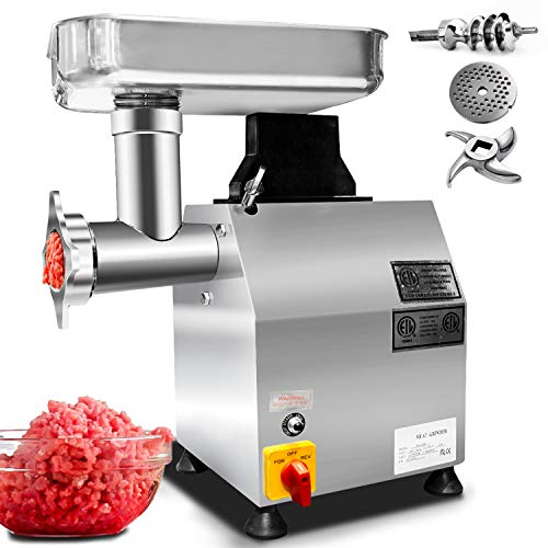 KITMA Commercial Electric Meat Grinder - #12 Stainless Steel Meat Mincer & Sausage Stuffer with 3 Grinding Plates, 735W, 170 RPM