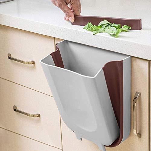KINLO Faltbare mülleimer küche, (PP) BPA-frei 10 L Hängend Küchenabfalleimer für Schranktür Küche/Büro/Badezimmer/Zimmer Auto (Grau)
