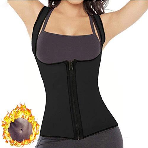 Chaleco de Entrenamiento de Cintura para Mujer con Cremallera Sauna de Neopreno para Quemar Grasa Chaleco para Perder Peso Corsé Delgado Body Shaper Camiseta (Color : Black, Size : XL)