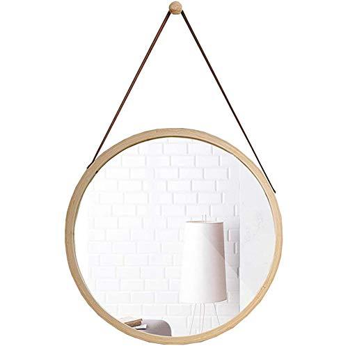 Badspiegel Mit Beleuchtung Rund, Dressing Spiegel Verstellbarer Riemen, Rahmen Aus Bambus, Modern Flur Bad & Gäste WC Badezimmer Dekoration Hängenden Spiegel