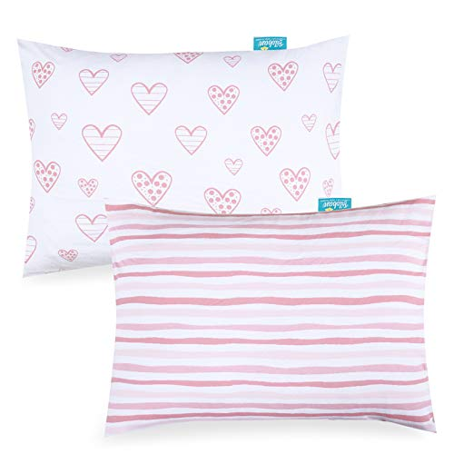 """Kid Toddler Pillowcase 2 Pack, 100% Jersey Cotton Ultra Soft Baby Kids Pillow for Sleeping Fit Pillow Sized 13""""x 18"""" or 14""""x19"""", Pink Envelope Style Travel Pillowcase for Girls Boys"""