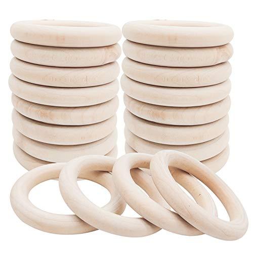 Anillos de madera natural, conectores colgantes de anillo de 70 mm de diámetro...