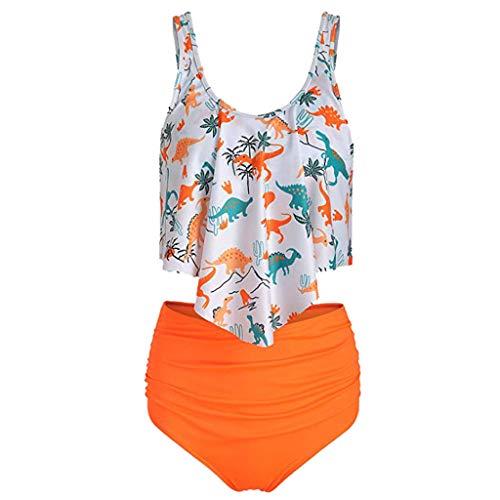 Zegeey Damen Badeanzug Bademode RüSchen Hals HäNgen Bikini Sets Zweiteilige Push Up High Waist Strandkleidung Mit Drucken(J4-Orange,34 DE/S CN)
