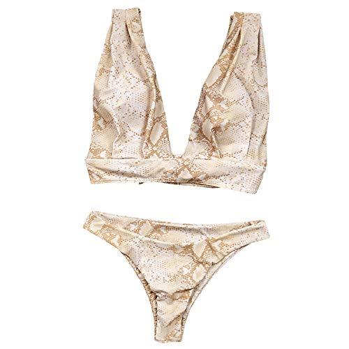 B/H Natation Vetement Pas Cher Amincissant,Bikini imprimé, Bretelles Triangle, Large bandoulière Fendue-M