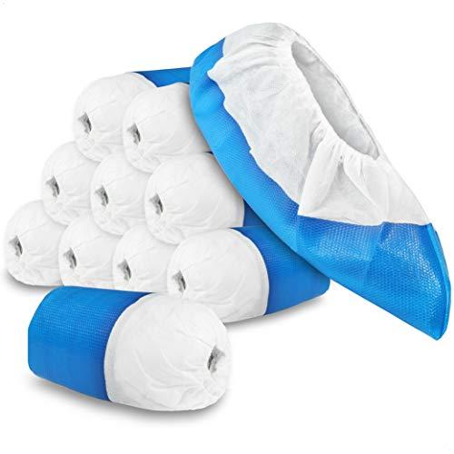 com-four® 100x Cubrezapatos Reutilizables Premium de 11,9 g por Cada Funda - con Suelas Antideslizantes, Reutilizables, Extra Fuertes e Impermeables