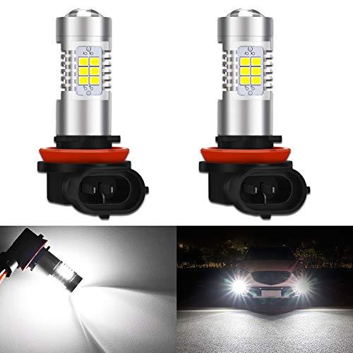 KATUR H8 H9 H11 LED Bombillas antiniebla Máx. 80W Alta Potencia Superbrillante 2000 lúmenes 6500K Xenón Blanco con proyector para DRL o Luces antiniebla, 12V -24V (Paquete de 2)