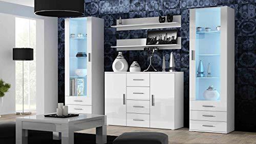 Wohnwand SOHO 3 mit Blauer LED Beleuchtung, Anbauwand, Wohnzimmerschrank, Schrankwand, Vitrine, Sideboard, Hängeregal (Weiß/Weiß Hochglanz)