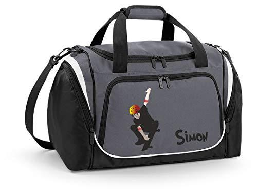 Mein Zwergenland Sporttasche Kinder personalisierbar mit Schuhfach, Kindersporttasche 39L mit Name und Skeater Bedruckt in Grau