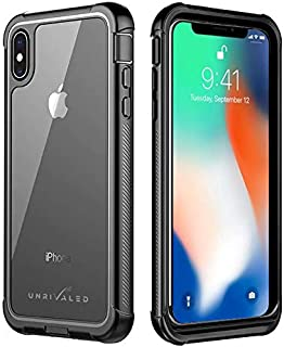 UNRIVALED iPhone Xs Max Cell Phone Case 360 Degree Protection Full-Body Rugged Shockproof Case with Built-in Screen Protector for iPhone Xs Max-Matte Black/Clear