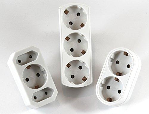 Prise Adaptateur de distribution 3 Compartiment + 2 1 x plus Prise Multi Fiche adaptatrice Contact 162 + 568 + 550