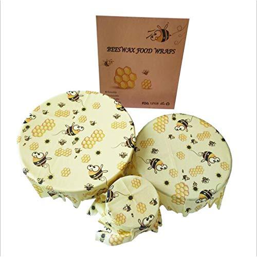Confezione da 6 confezioni assortite di cera d'api riutilizzabili, ecologici, biodegradabili, sostenibili per alimenti, in plastica, per conservare alimenti, 2 piccoli, 3 medi, 1 grande (B)