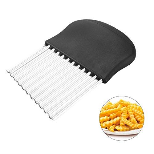 LQZ(TM) Wellenschneider aus Edelstahl Kartoffelschneider Gemüseschneider Küchenhelfer Karotten Chips spülmaschinenfest