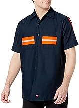 Red Kap Men's Enhanced Button Down Work Shirt, Regular Fit, Short Sleeve, Navy with Orange Visibility Trim, 3X-Large