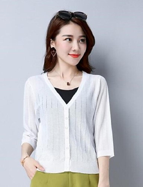 BaiChunYunYi Damen Standard Strickjacke-Lssig Alltglich Solide Rundhalsausschnitt 3 4 rmel Baumwolle Andere Sommer Dünn Mikro-elastisch