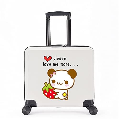 FGHHJ Equipaje para niños de 18 Pulgadas, Muchacha, niña, pequeña Maleta, Equipaje de Viaje con 4 Ruedas, cartón, Carcasa Dura, Peso Ligero,White Panda