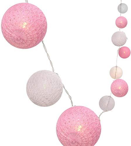 Cadena de luces con bolas de algodón, funciona con pilas, 3,3 m, 20 bolas LED, para interior o pared, iluminación de Navidad, decoración para bodas, habitaciones, hogar, fiestas (rosa)