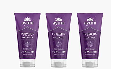 Ayumi Turmeric & Bergamot Face Wash. Vegan, Cruelty-Free, Dermatologically-Tested, 3 x 150ml