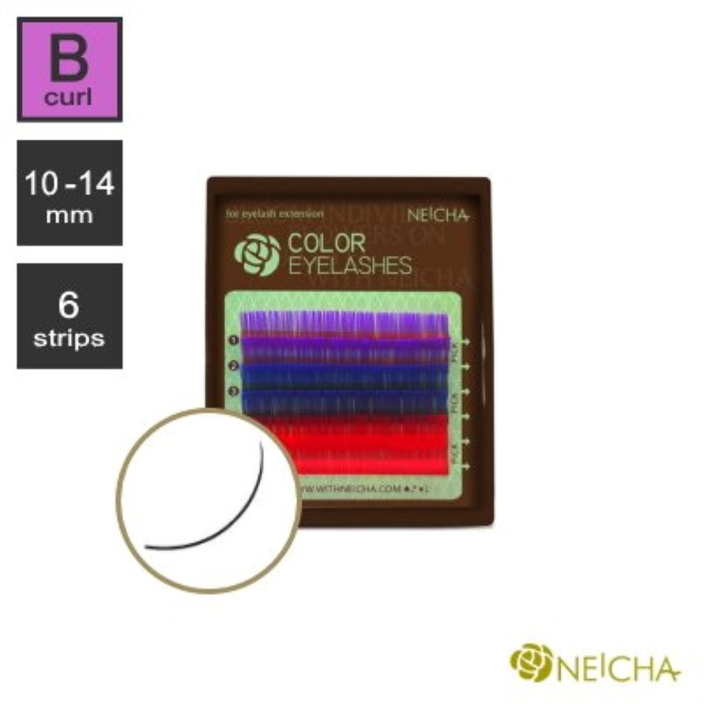 ジャンルマグ十億まつエク《目尻のポイントカラーが可愛い!》NEICHA 3カラーラッシュ ( 紫/青/赤 ) ( Bカール ) ( 6列 ) (10mm)