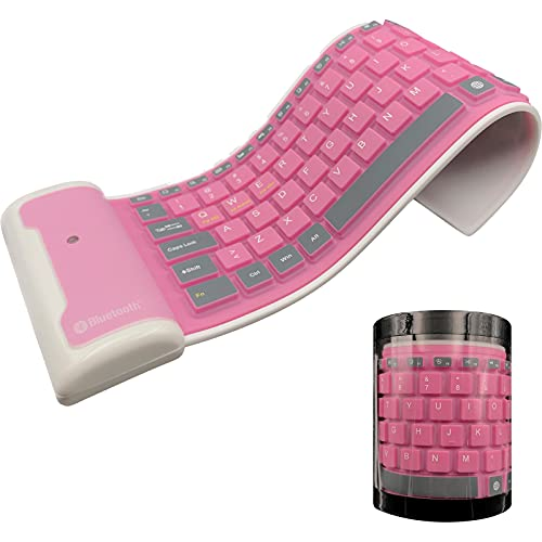 Meega Pink Wireless Silicone Keyboard, Foldable Waterproof Rollup Keyboard for Laptop/Notebook/iPad/Mobile Phone, USB Recharged