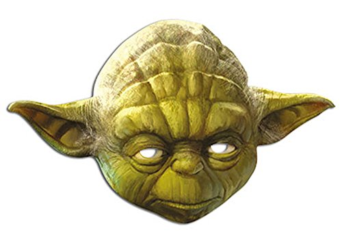 Masque Star Wars - Maître Yoda - En carton brillant de qualité supérieure - avec des trous pour les yeux et une bande élastique - Dimensions : 30 x 20 cm