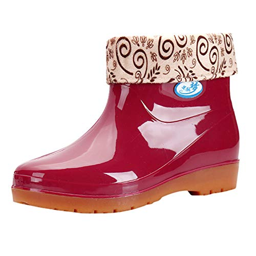 DAIFINEY Damen Gummistiefel Gummistiefeletten Regenstiefel wasserdicht Shorty Boot Kurzschaft Stiefel Angelschuhe Gartenschuhe Küchenschuhe rutschfest Anti-Fett(1-Rot/Red,36)