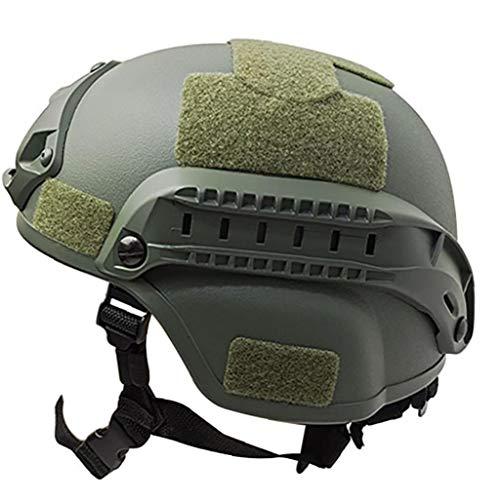 Al Aire Libre Ajustable Acolchada táctico Casco con NVG Monte y del Carril Lateral para Airsoft Paintball Caza de Disparo (Verde del ejército)