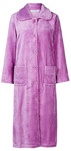 Slenderella Ladies Luxury Weiches hellpurpurnes Fleece Einfacher Hausmantel mit 6 großen Knöpfen und Kragen Klein 36 38