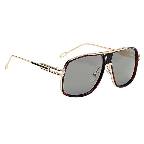 Bonarty Gafas de Sol Hombres Mujeres Vintage Sunglass Big Face Gafas de Sol de Gran Tamaño - Lente de oro del marco del leopardo, Único