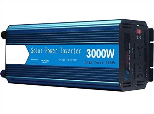 AUTOMÁTICAS PUESTAS PURE SINE WOND ENVERTER INVERTER 3000W / 6000W Peak Converter DC 12V 24V a AC 110V 220V con pantalla LED y enchufes universales duales para la barca de automóviles de camión RV, pa