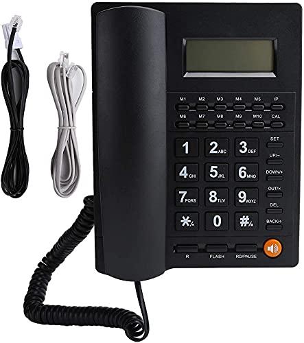 WWJ Telefone Fixo, Telefone com Fio, Telefone Mãos Livres com Fio, Telefone de Botão Grande para Idosos, Visor de Identificação de Chamada/Qualidade de Chamada em HD (Redução de Ruído), Pl