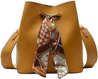 SODIAL Women'S Scarf Bucket Bag Pu Leather Messenger Bag Ladies Single Shoulder Mother Bag Travel Handbag Yellow