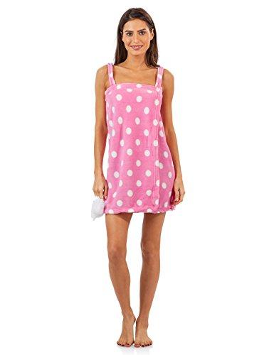 Casual Nights Damen Plüsch Fleece Dusche Wrap Bademantel mit Seifenschwamm Gr. 42, pink / punkte