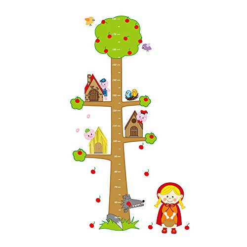 Winhappyhome Fairy Tale Children Height Measurement Chart Autocollants pour Kids Room Pépinière Background Amovible Décor Décalcomanies