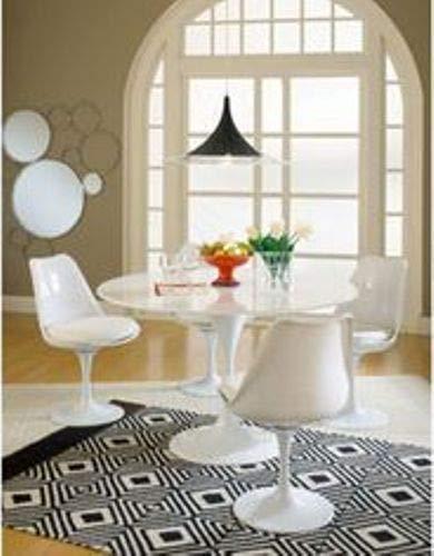 ElleDesign Silla giratoria blanca de uso intensivo Tulip Saarinen con cojín de piel sintética blanco