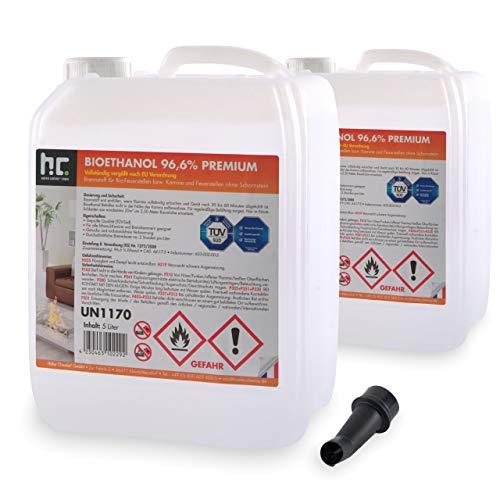 Höfer Chemie 2 x 5 L (10 Liter) Bioethanol 96,6% Premium - TÜV SÜD zertifizierte QUALITÄT - für Ethanol Kamin, Ethanol Feuerstelle, Ethanol Tischfeuer und Bioethanol Kamin