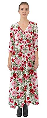 CowCow Womens All Red Roses Button Up Boho Maxi Dress, Red - XL