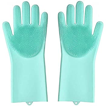 JOHN RICHARD Home Maker Silicone Scrubbing Gloves, Scrub Cleaning Gloves with Scrubber for Dishwashing and Pet Grooming, Latex Free (Multi Color, 1 Pair)