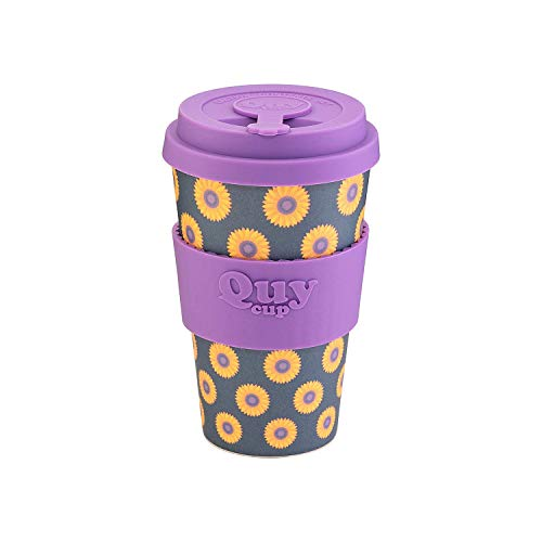 QUY CUP. Sunflower. Kaffeebecher to Go, Travel Mug, Bamboo Cup als Mehrweg Tasse für unterwegs, Coffee to go Becher, nachhaltiger Becher mit Deckel und Silikonmanschette, 400ml.