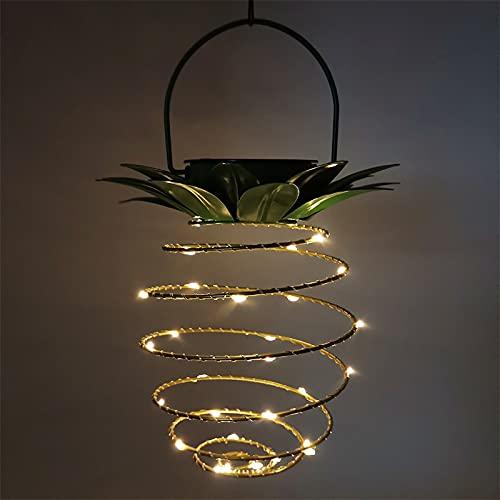 MCDSAJ 2 luces solares en espiral, luces solares para jardín de piña, luces LED, decoración al aire libre, lámpara decorativa para Navidad, patio, camino, hogar, árbol, decoración de iluminación