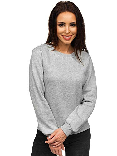 BOLF Damen Sweatshirt Pullover ohne Kapuze Basic Langarmshirt Top Baumwollmischung Pulli Rundhals-Ausschnitt Sweater Farbvarianten Sportlich Fitness J.Style WB11002 Grau L [A1A]