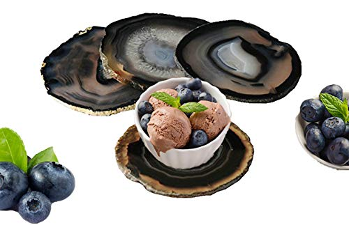 JIC Gem 3.5-4'' Natural Agate Coasters Dyed Black Sliced Geode Polished for Coffee Cup Home...