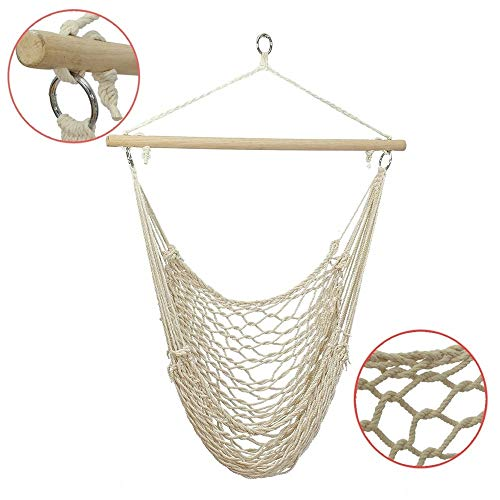 Hangstoel Draagbare Portable Outdoor Swing Cotton Hangstoel Houten Bar Opknoping Touw Stoel For Garden Patio Yard Porch Indoor Outdoor Thuis Patio Yard Garden (Color : White, Size : 135 x 90 cm)