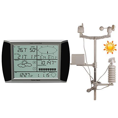 YAOBLUESEA Funk Wetterstation Solar Funkwetterstation Wetterstationen mit Funk Windmesser/Regenmesser/Temperatur mit Alarmen/Luftfeuchtigkeit,Software Touchscreen, 14,5x23,5x3cm