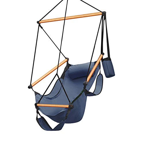 Flexzion Hanging Hammock Chair Air Swing Lounger Upgraded 350lbs Zero Gravity Relaxing w/ Foot Stand & Solid Wooden Dowels & Portable Bag /F Adults Outdoor Indoor Patio Camping Bedroom Rope (Blue)