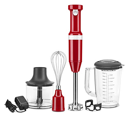 KitchenAid KHBBV83ER Cordless Variable Speed Hand Blender with Chopper and Whisk Attachment, Empire Red