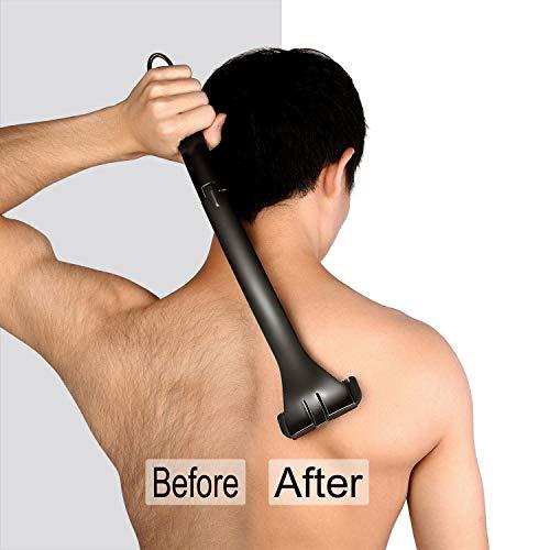 Rückenrasiere Männer Rückenhaar Entferner Rasier Verlängerung Supcare, klappbare für den ganzen Körpe, Rasierbügel für Rückenhaar, Schwarz Rasierer herren Rücken mit 2-Klinge